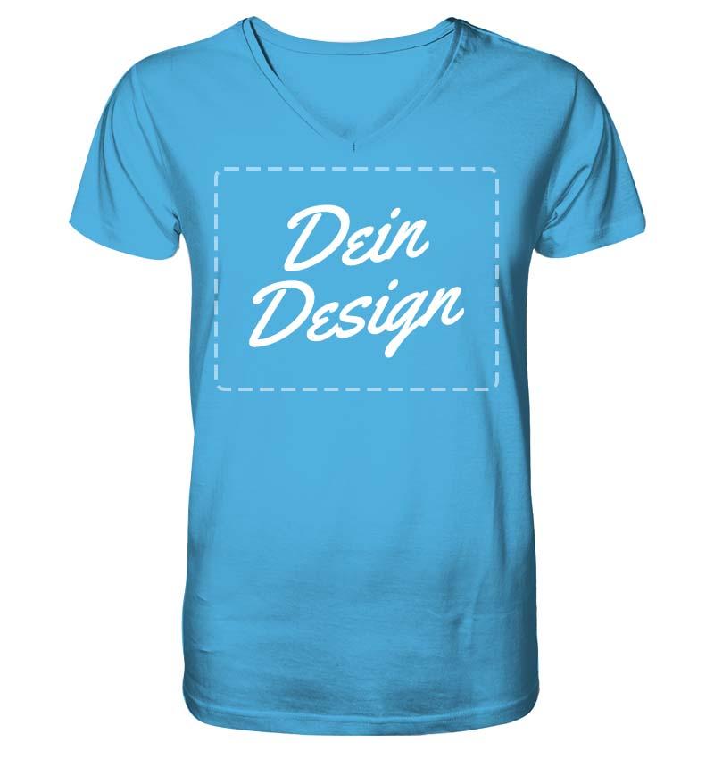 """Blaues V-Neck-T-Shirt mit Aufdruck """"Dein Design"""""""
