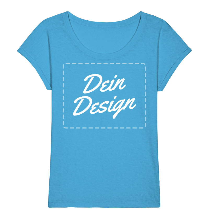 """Blaues Damen-Oversize-T-Shirt mit Aufdruck """"Dein Design"""""""