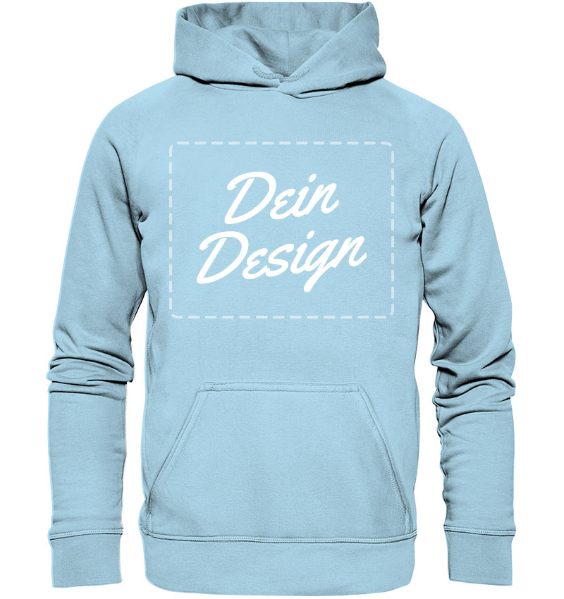 """Hellblauer Hoodie mit Aufdruck """"Dein Design"""""""
