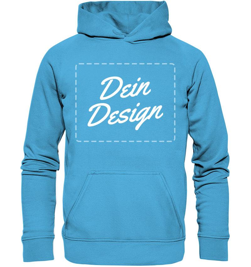 """Blauer Hoodie mit Aufdruck """"Dein Design"""""""