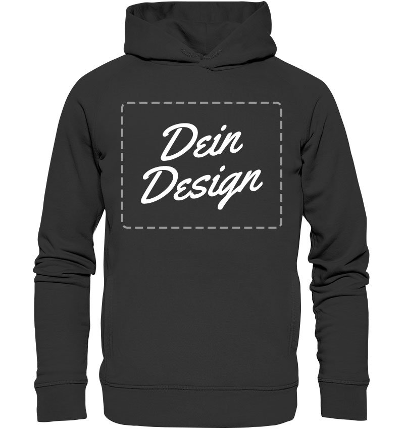 """Schwarzer Hoodie mit Aufdruck """"Dein Design"""""""
