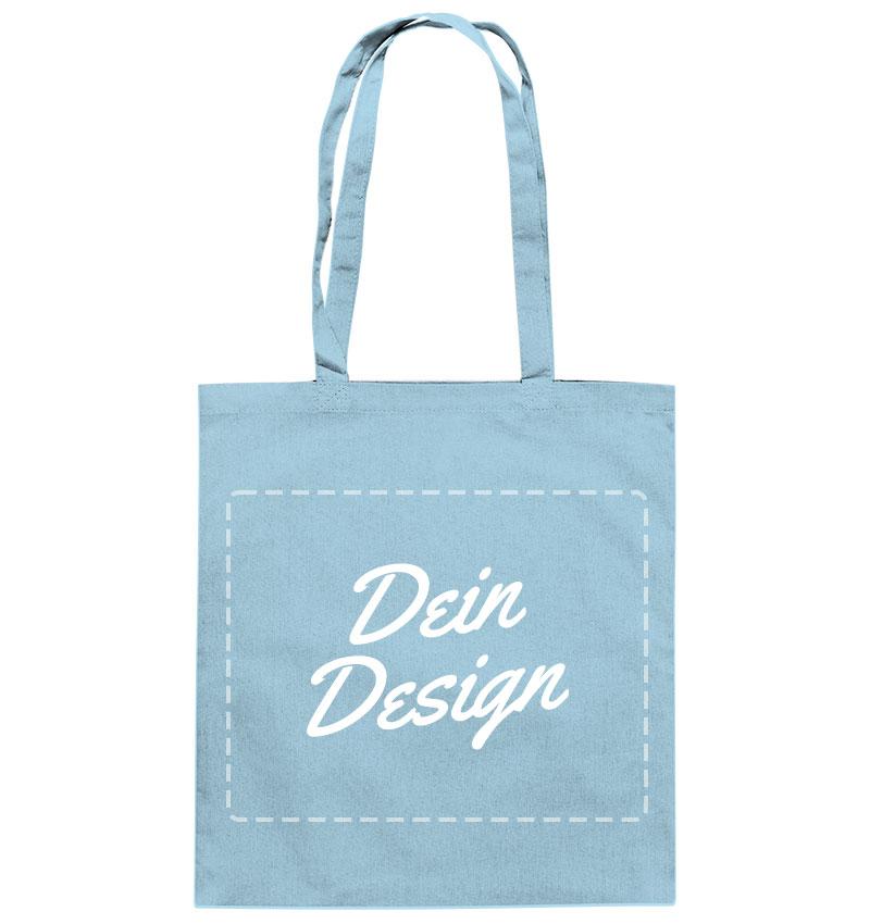 """Hellblaue Stofftasche mit Aufdruck """"Dein Design"""""""