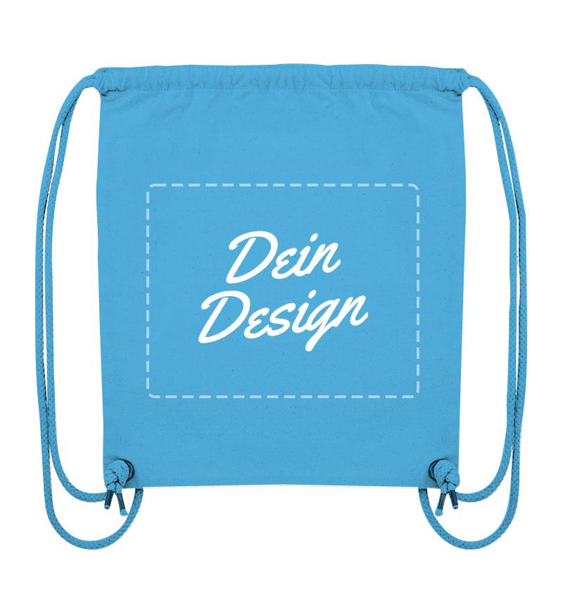 """Blaue Tasche mit Kordeln mit Aufdruck """"Dein Design"""""""