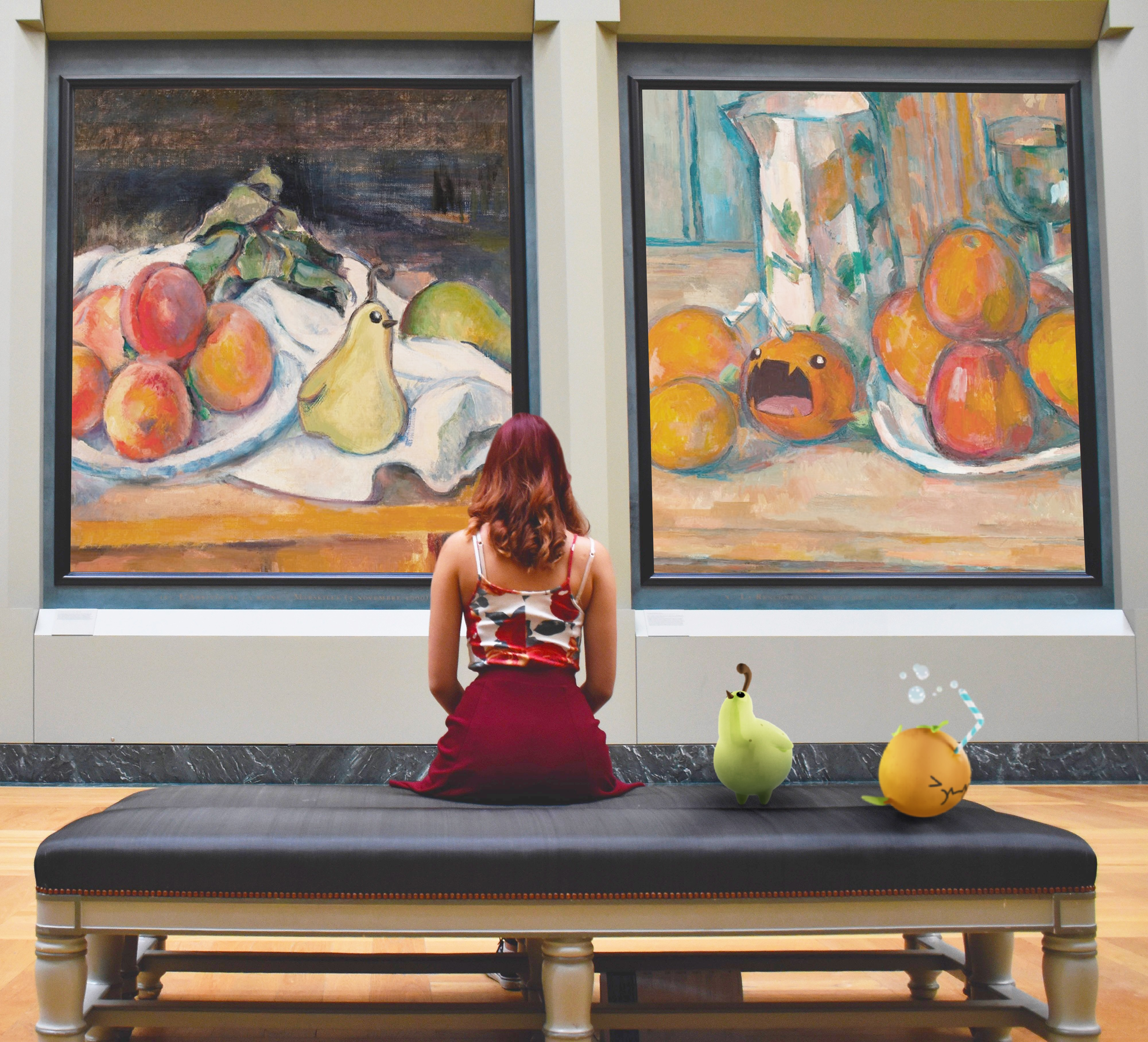 A woman sits on a bench in an art gallery admiring two paintings of Nibblins from the mobile game Nibblity. On the bench beside her are the same Nibblins that are depicted in the artwork.