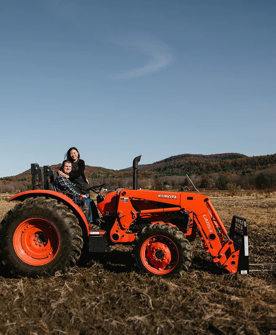 Owners Peter Reed Laznicka and Kat Chang Laznicka at the farm in Sunderland, Massachusetts