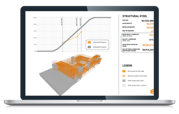 Laptop Image showing virtual replica of building under construction