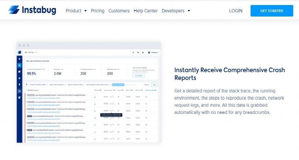 Instabug crash analytics tool