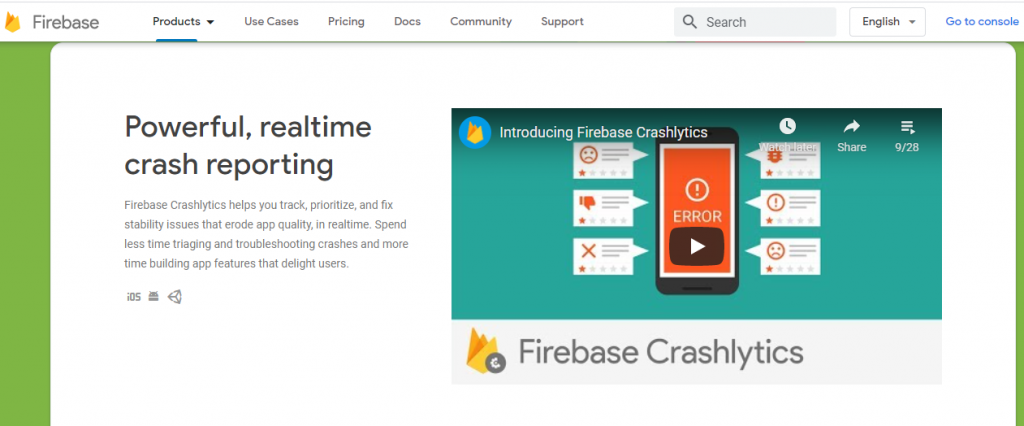 Firebase crash analytics and reporting tool