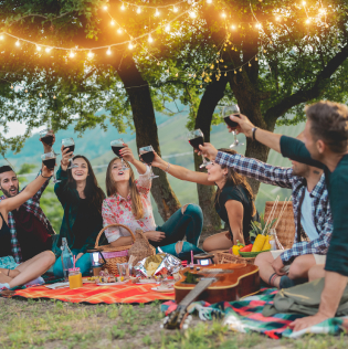 Happy friends having fun at picnic dinner with vintage lights outdoor next vineyard