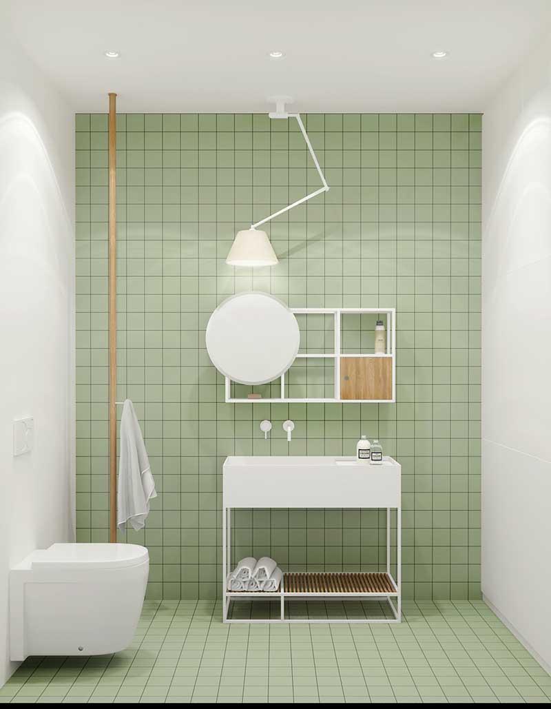 thiết kế phòng tắm nhỏ với màu sắc độc đáo