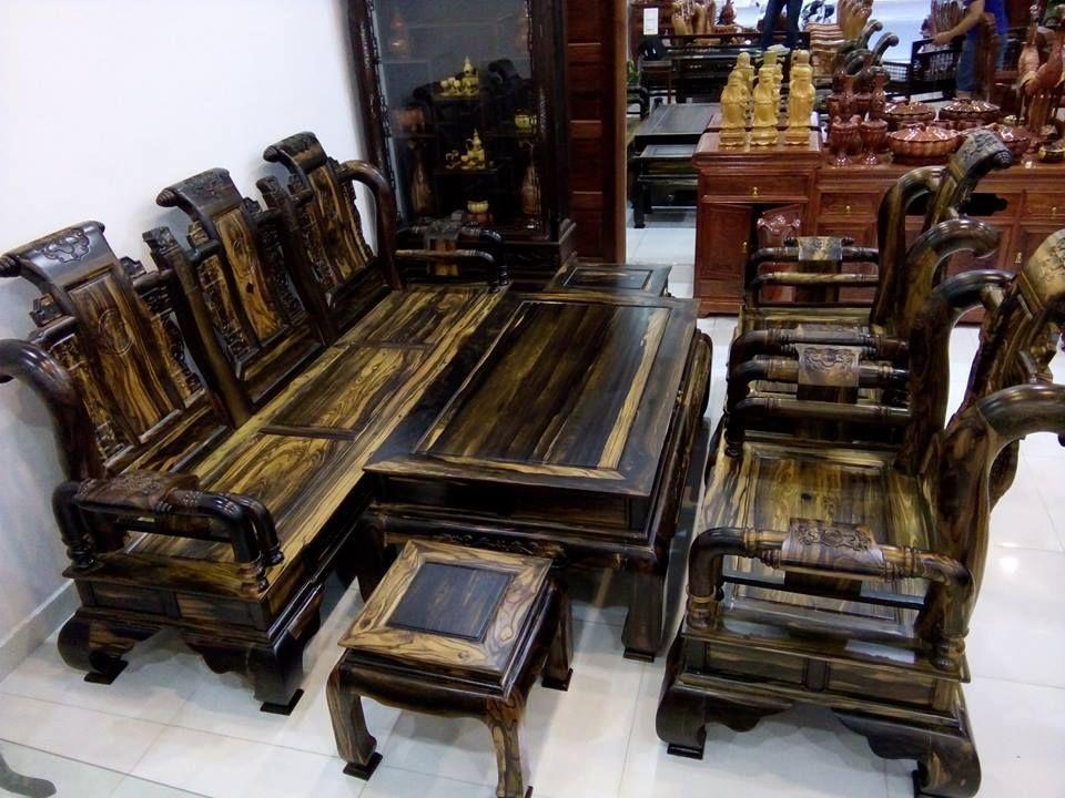 sofa bàn trà gỗ mun