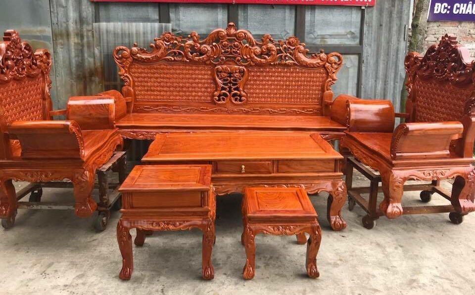 Bộ bàn ghế hoàng gia gỗ hương tự nhiên