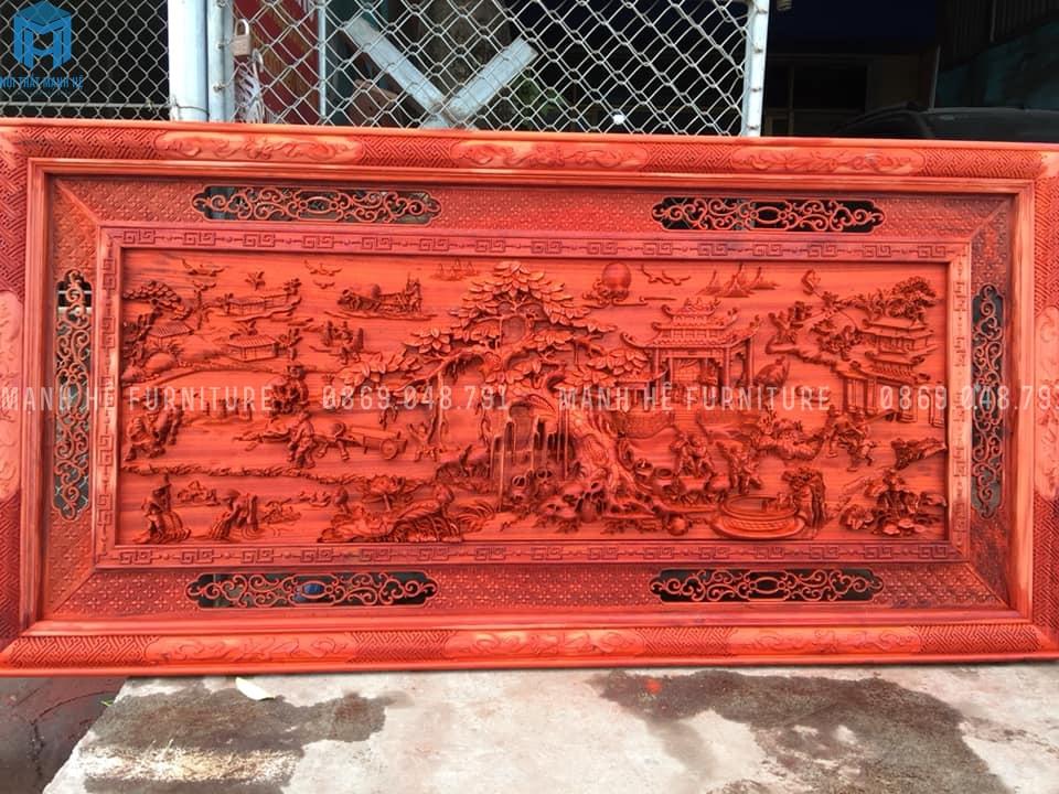 Tranh khắc gỗ hương đỏ