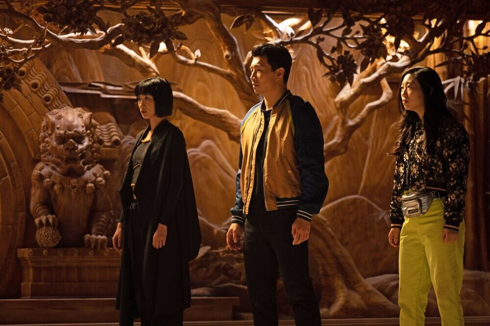 Meng'er Zhang, Simu Liu and Awkwafina in Shang-Chi and Legend of the Ten Rings. Photo: Marvel.