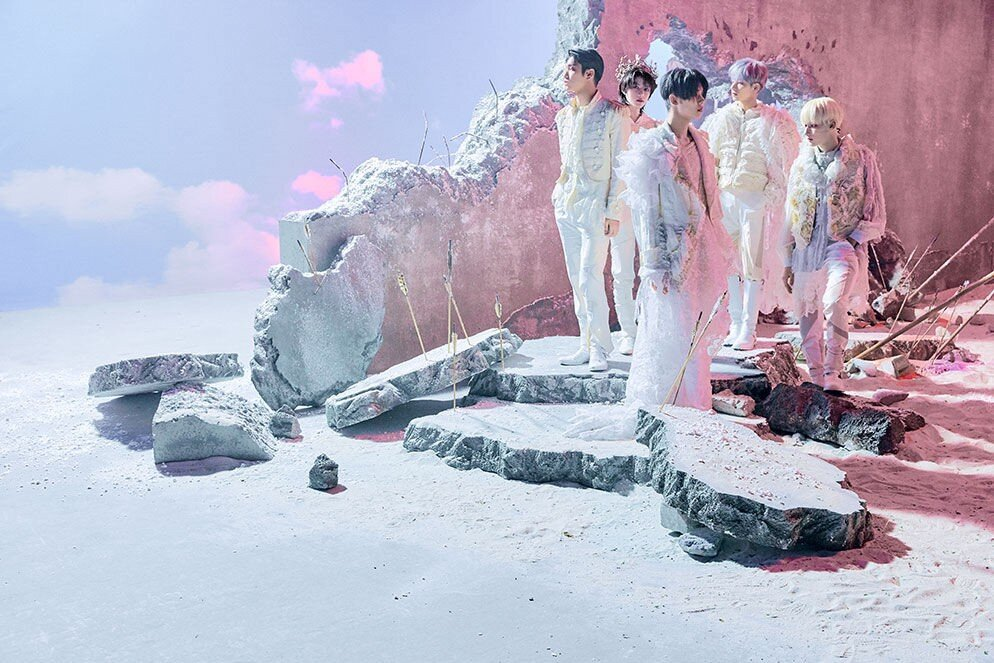 TOMORROW x TOGETHER for Concept 1 'World Version' of The Chaos Chapter: Freeze. Photo copyright Big Hit Music.