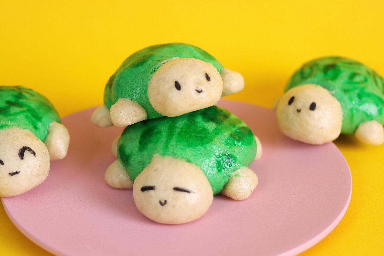 Custard filled steamed turtle buns. Photo courtesy of Kim-Joy.