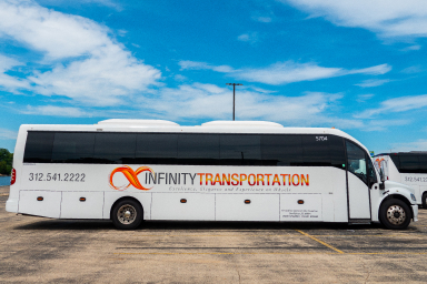 New comfortable bus Freightliner M2-106 before leaving