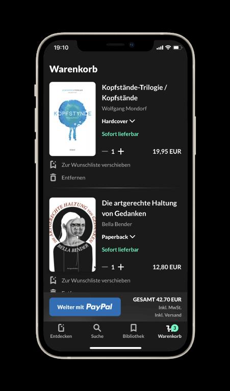 Bücher einfach mit PayPal kaufen. Mit einem Klick direkt zu den beliebtesten Zahlungsmethoden kommen.
