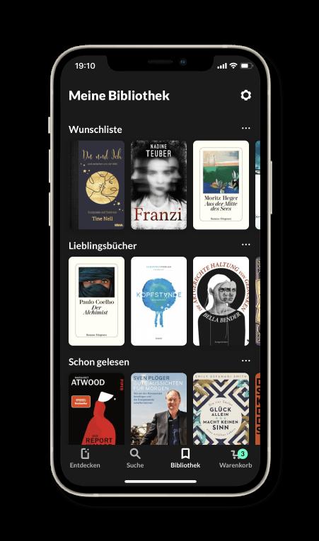 Bücher verwalten in der READO App. Bücher zu Listen hinzufügen und eigene Listen erstellen.