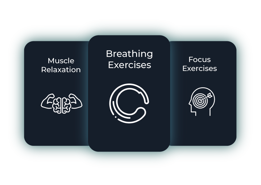 We have three main exercises: breathing exercises, muscle relaxation and focus exercises.