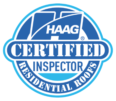 """A blue logo that reads """"Hagg Certified Inspector, Residential Roofs."""""""