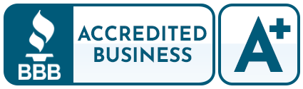 """A dark blue logo that reads, """"BBB Accredited Business, A+."""""""