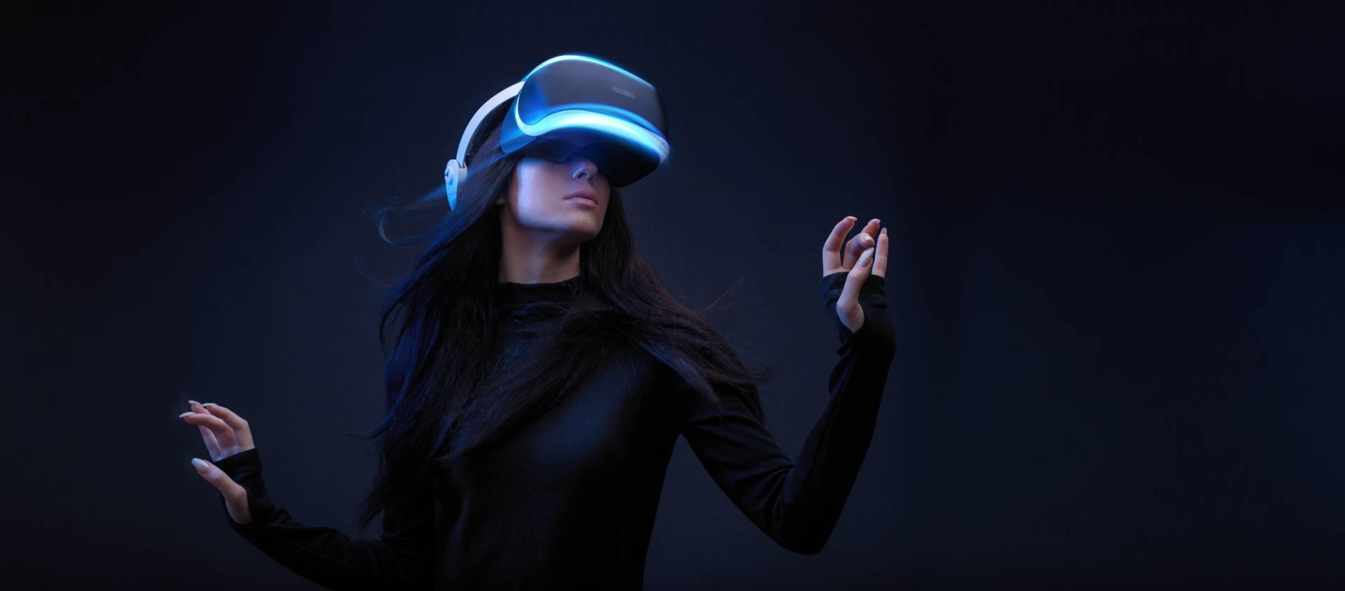 Woman in futuristic VR headset