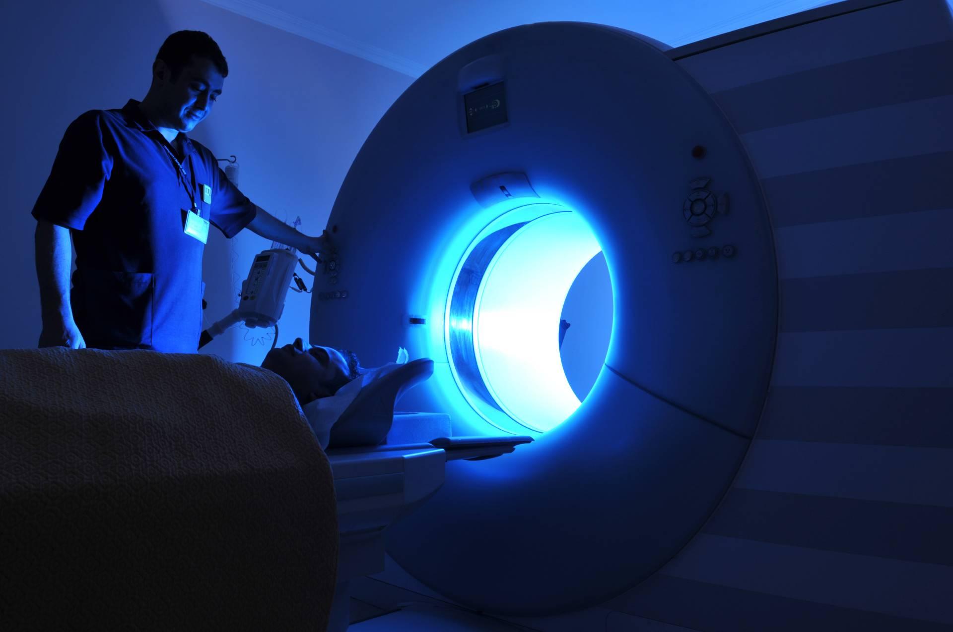 MRI machine in blue light