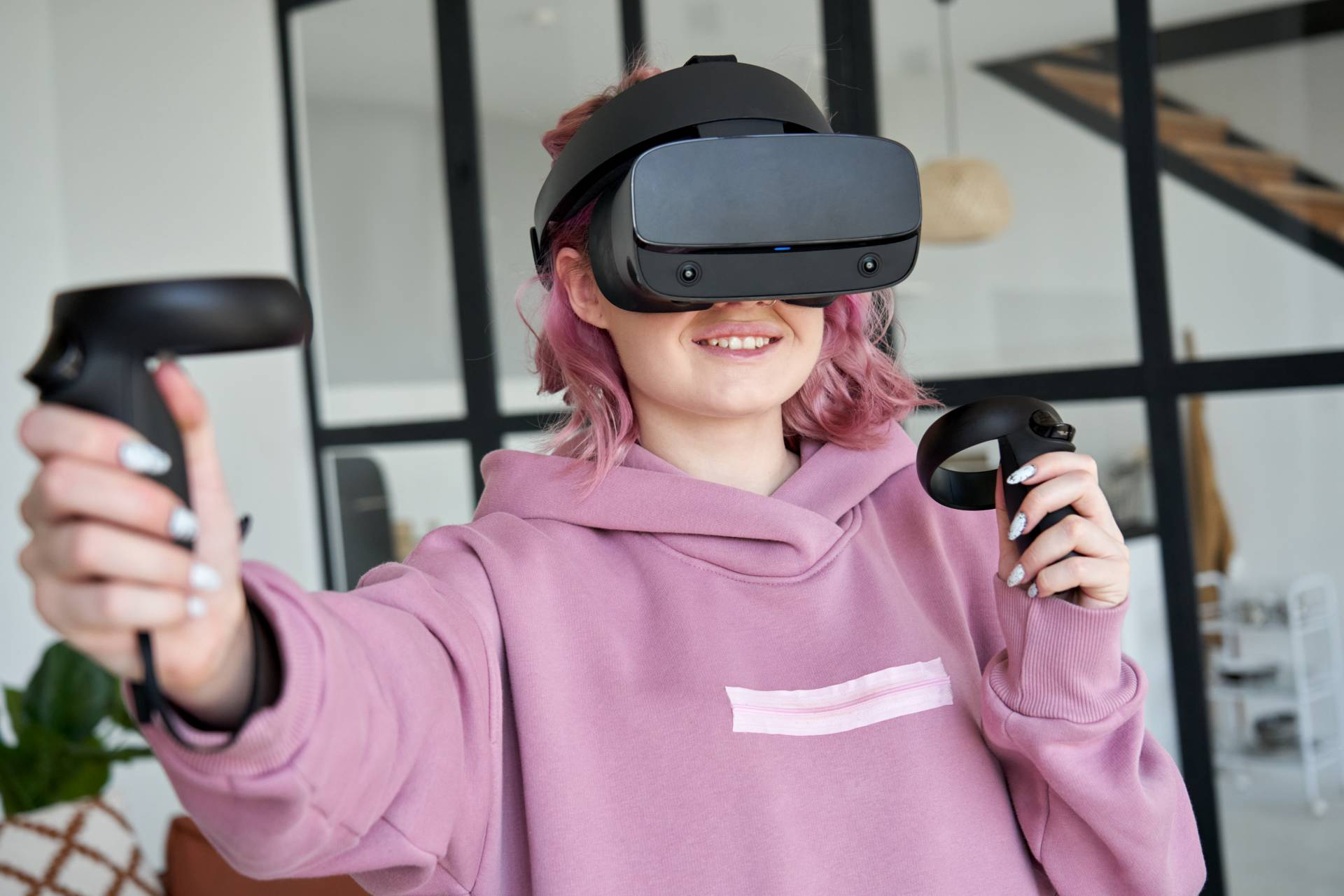 Student using VR for learning