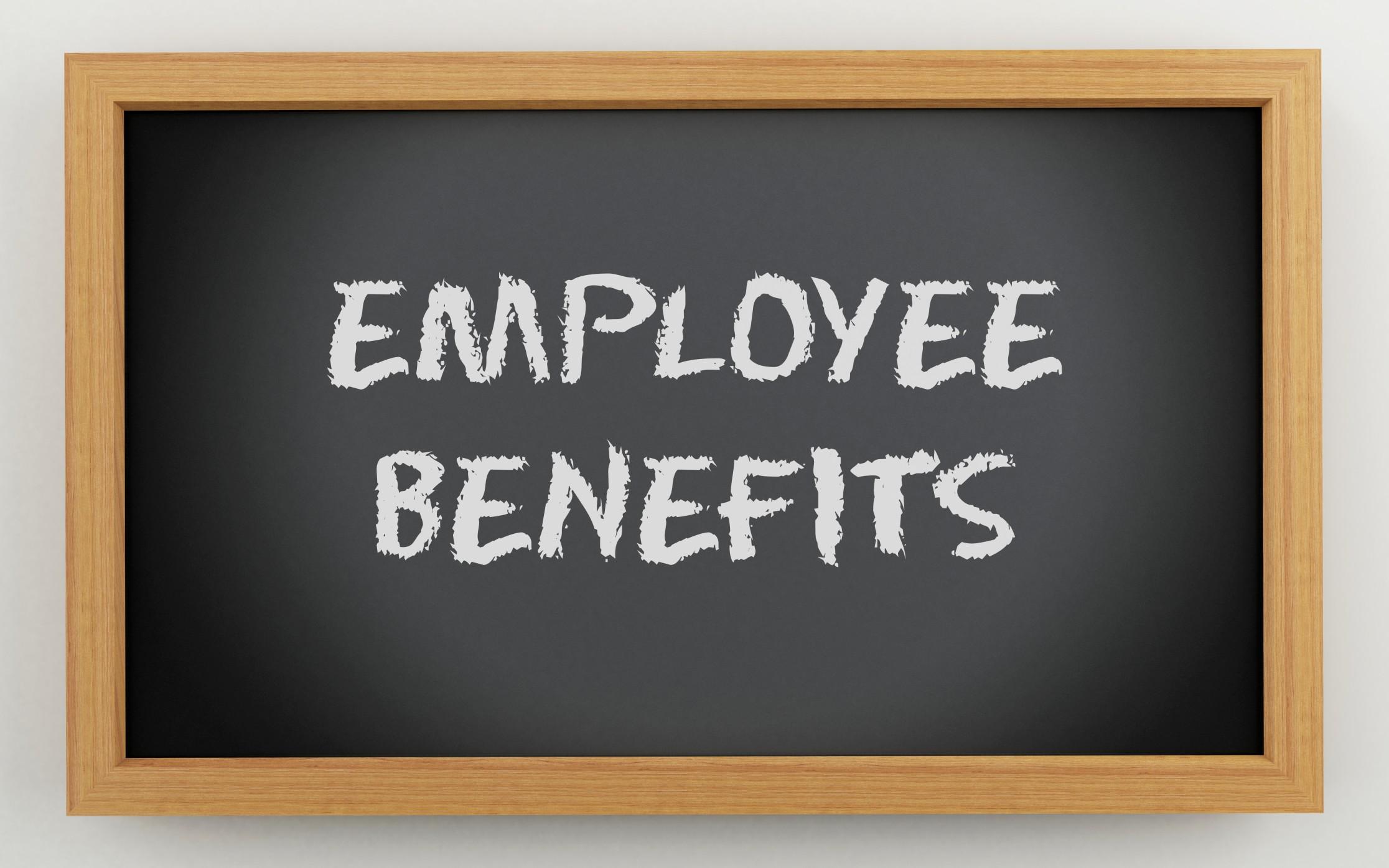 employee benefits written on a 3D chalk board