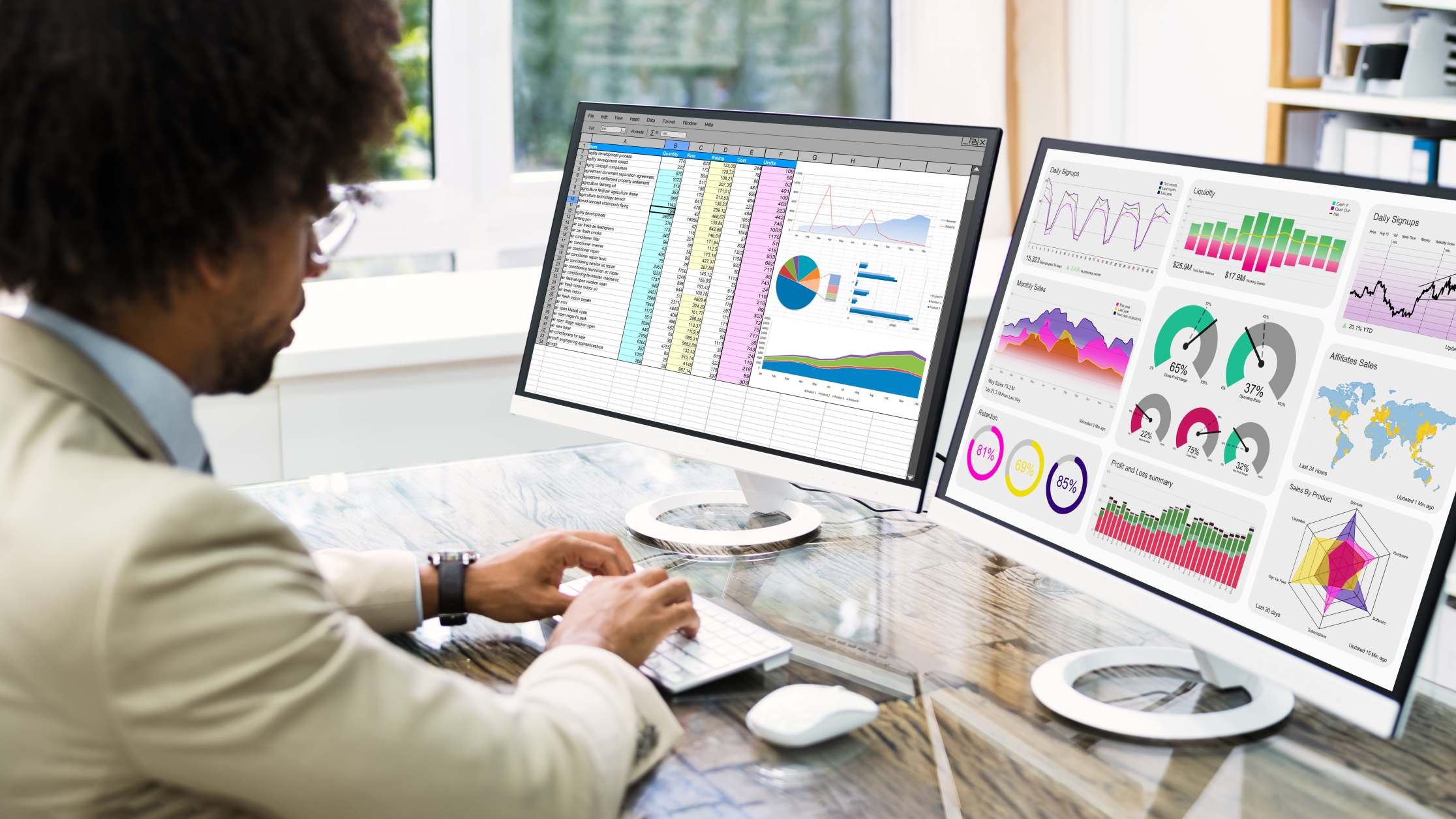 Man looking at data analytics on two screens