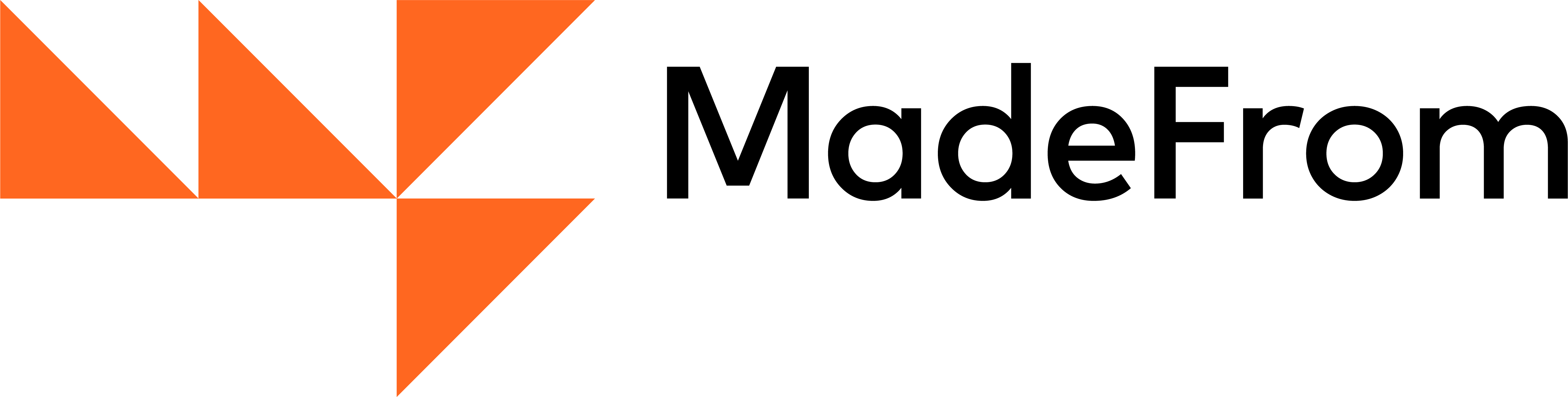 The MadeFrom logo and name. The logo is four orange triangles, arranged to form an abstract 'M' and 'F'.