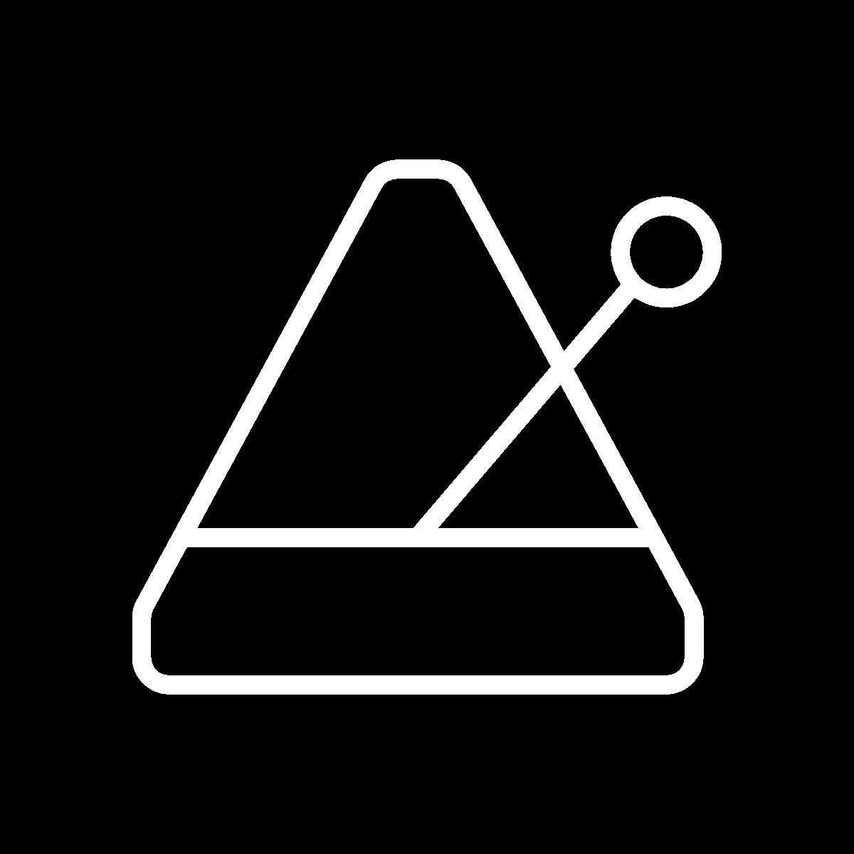 A white illustration of a metronome.