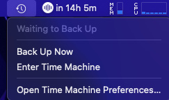 Time Machine Back Up Now