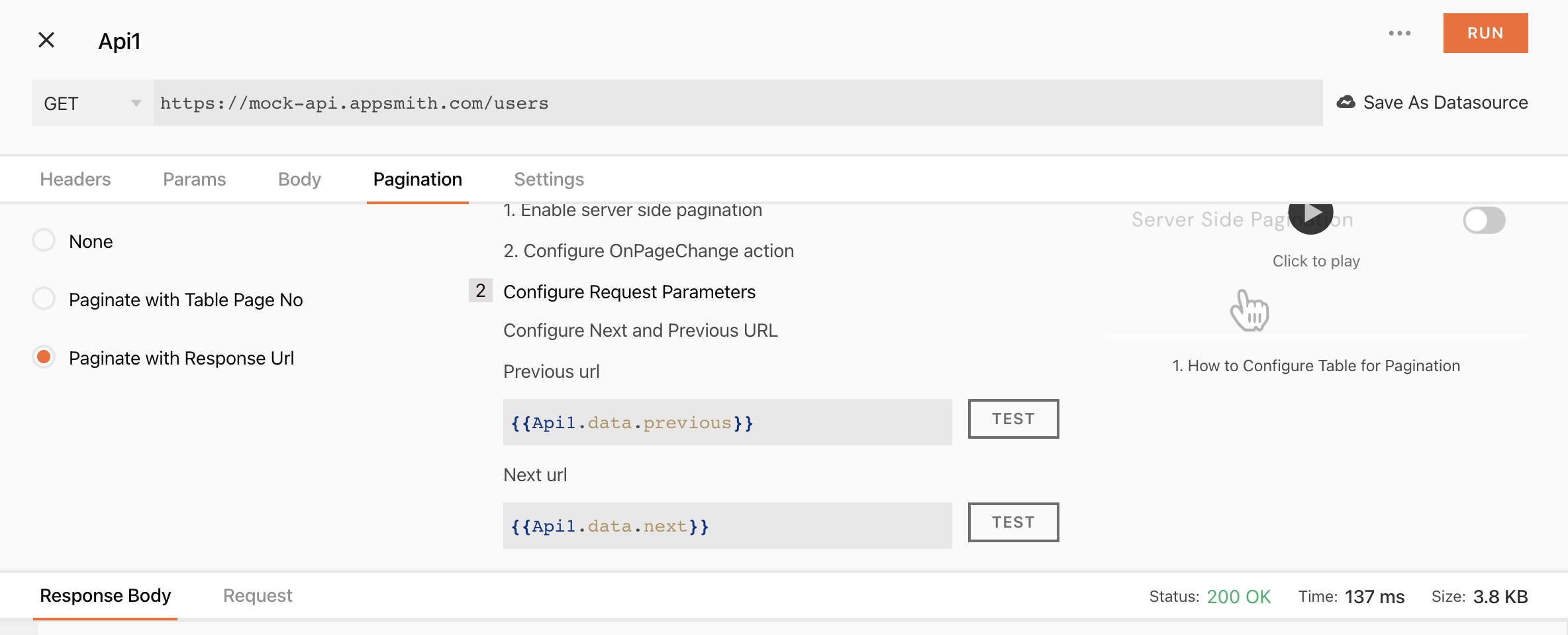 API settings with key-based pagination enabled and previous and next pages set