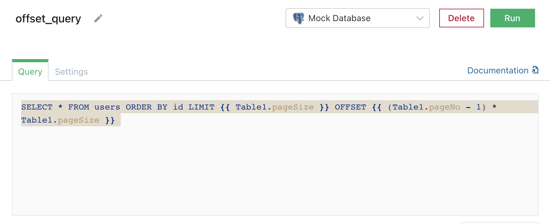 Query of users database that uses server-side pagination