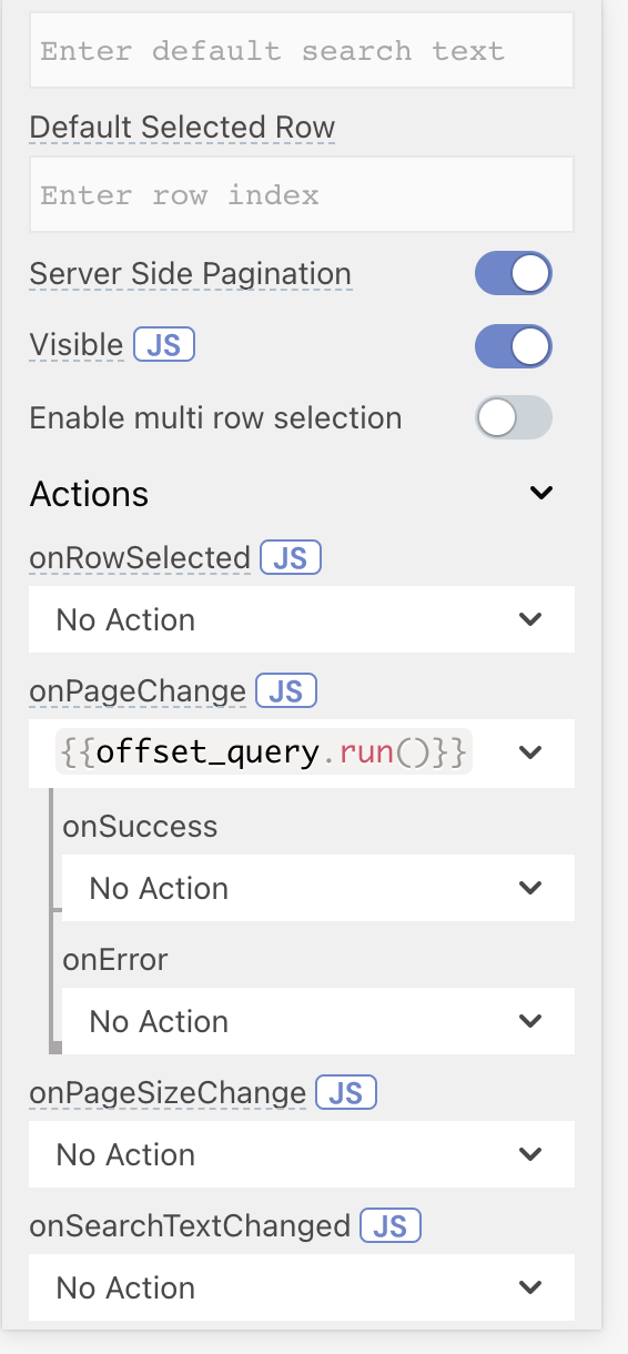 Appsmith table property pane with the query being run onPageChange
