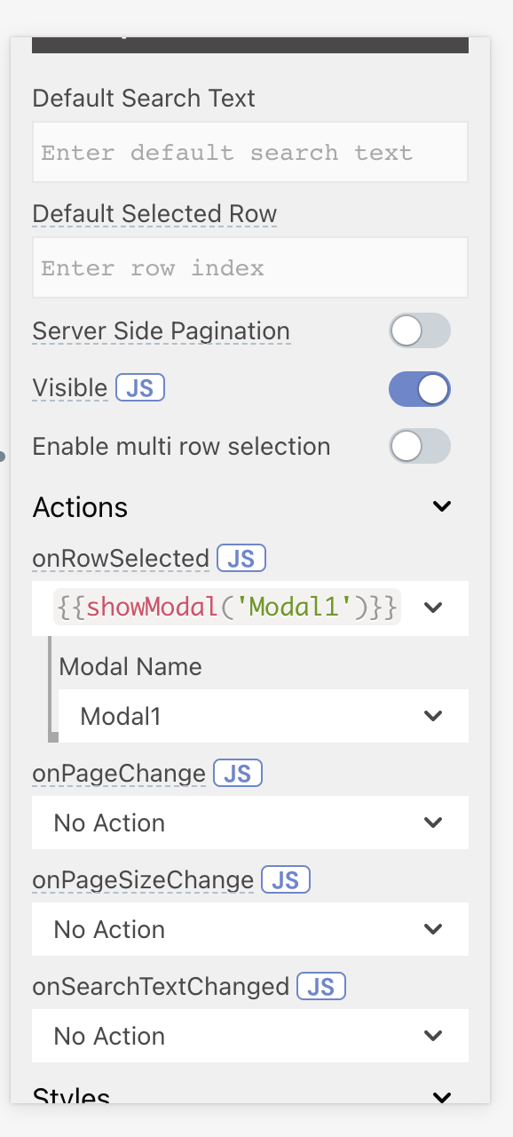 Property pane with onRowSelected option set to show a modal