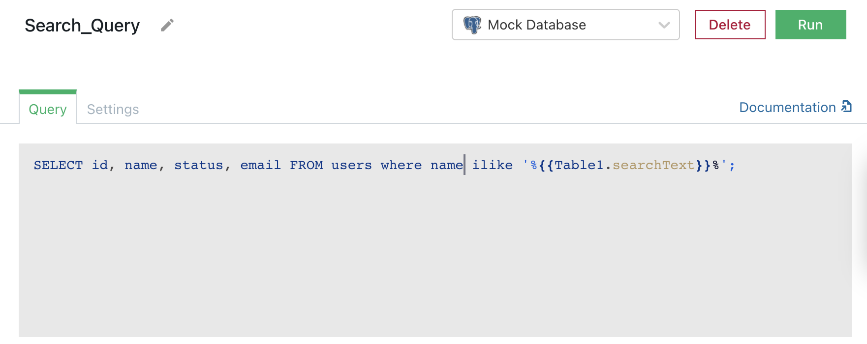 Query for server-side searching that uses searchText property