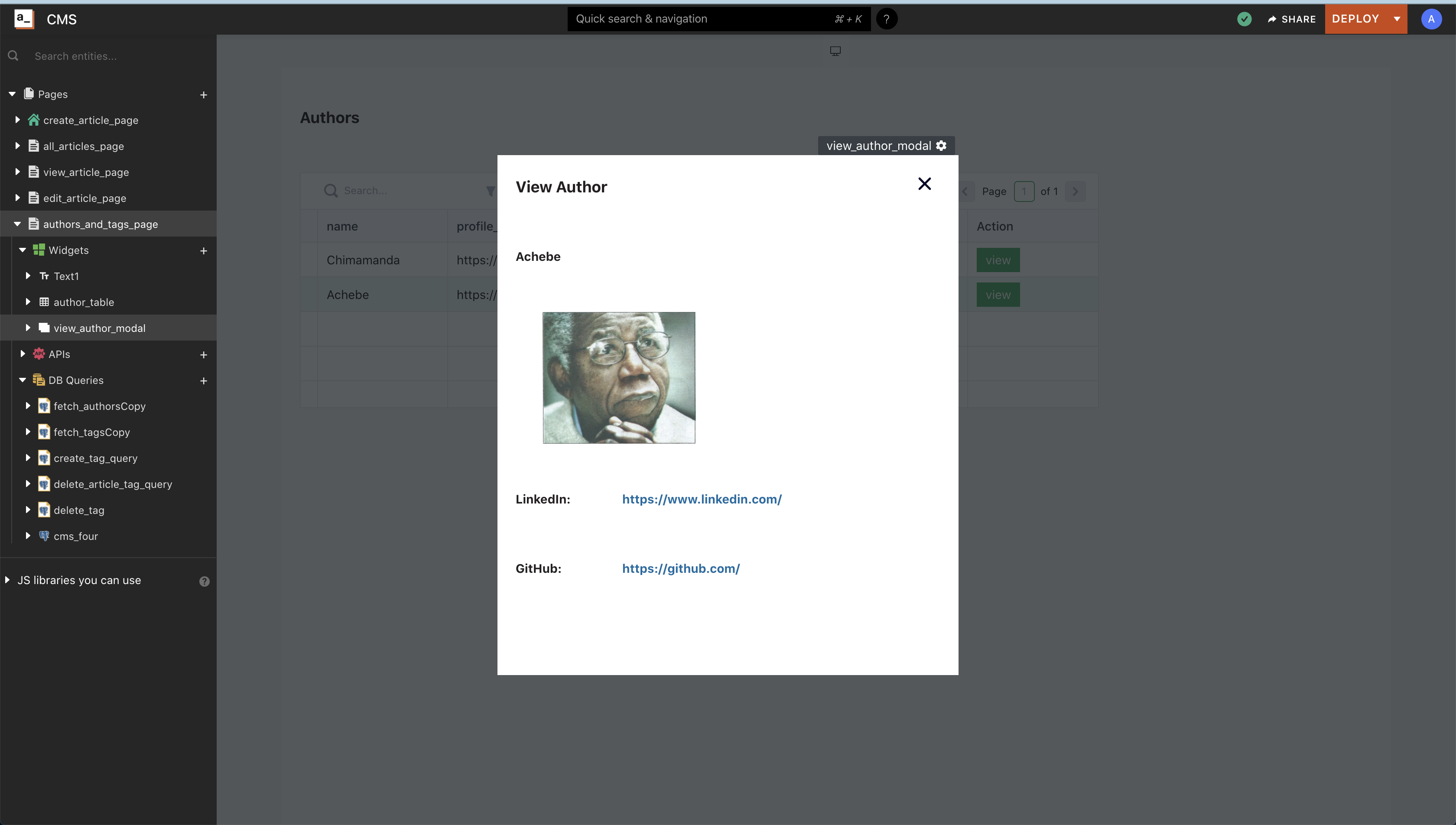Screenshot of the view_article_modal