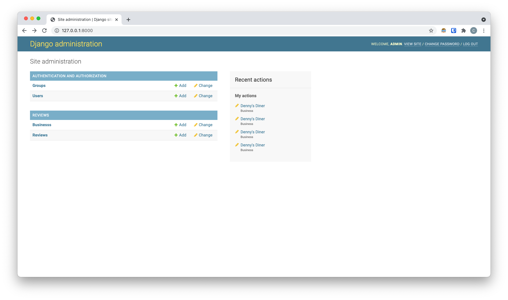 image showing dashboard with review app