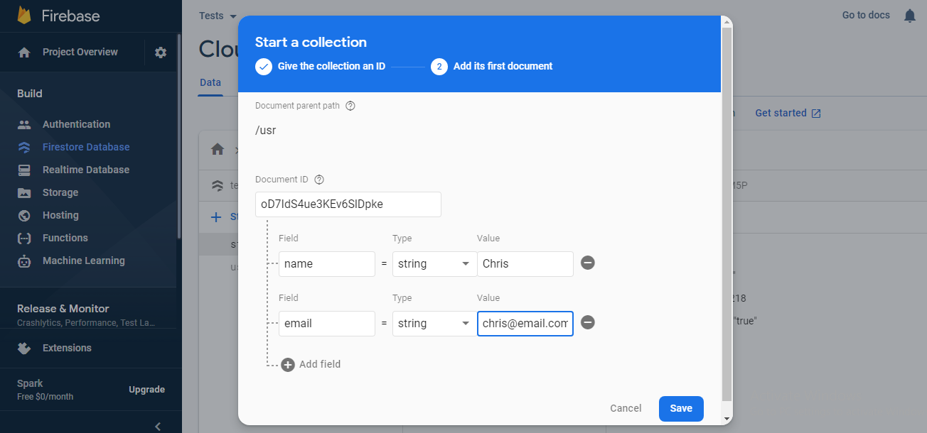 Adding collections and values to your Firestore