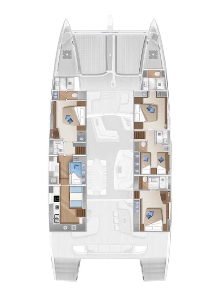 Cabina dell'equipaggio e cambusa di poppavia - 4 cabine std