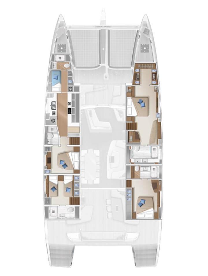 Cabina dell'equipaggio e cambusa di proravia - 4 cabine std
