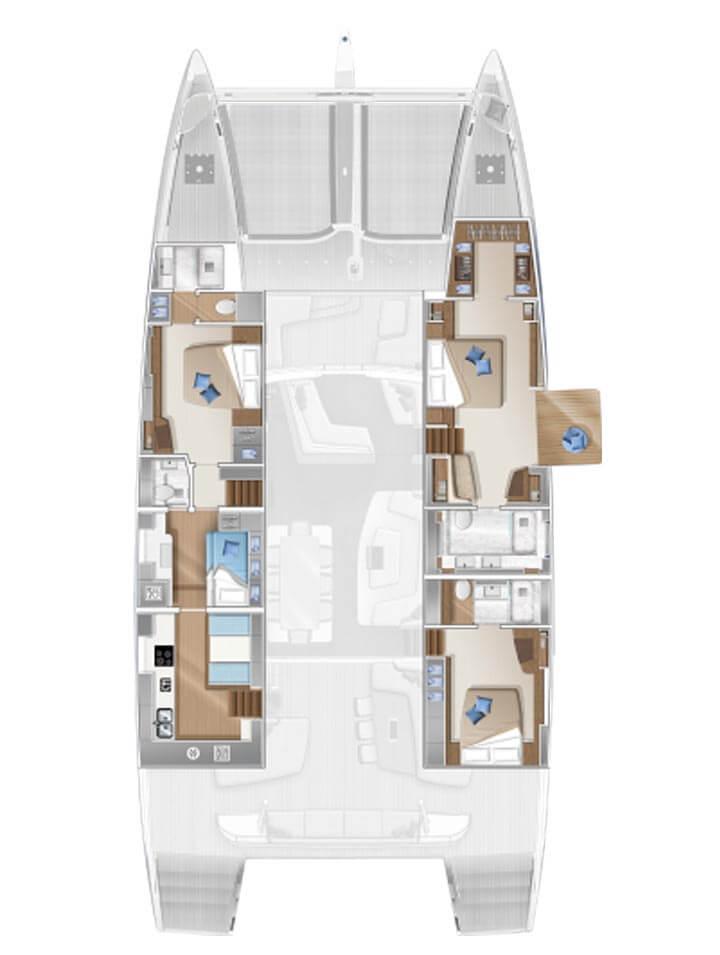Cabina dell'equipaggio e cambusa di poppavia - 3 cabine