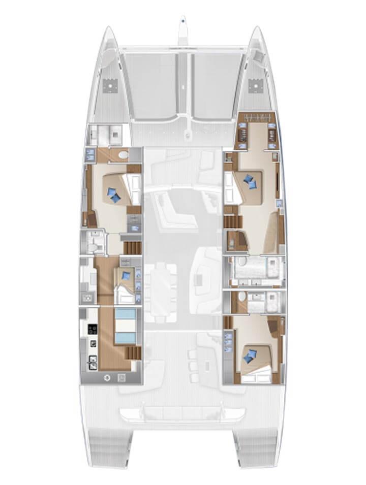 Cabina dell'equipaggio e cambusa di poppavia - 3 cabine std