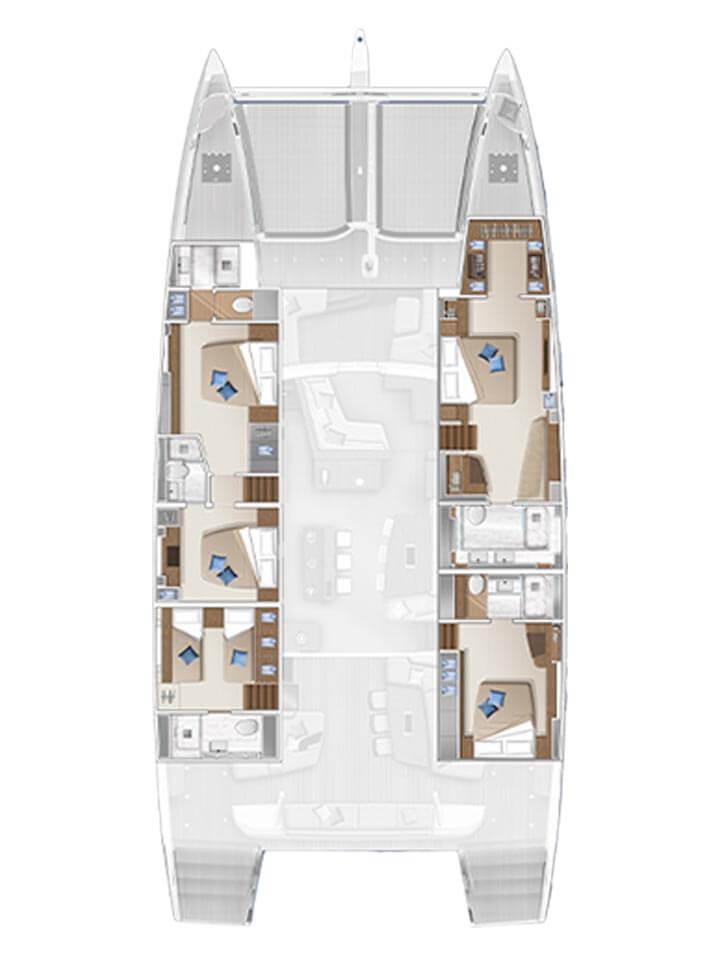 Cabina dell'equipaggio e cambusa di proravia - 5 cabine std