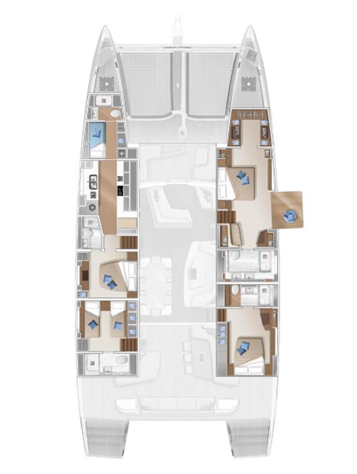 Cabina dell'equipaggio e cambusa di poppavia - 4 cabine