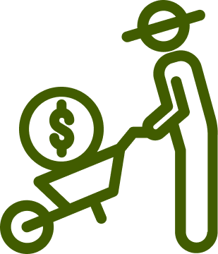 Icon of wheelbarrow with money in it