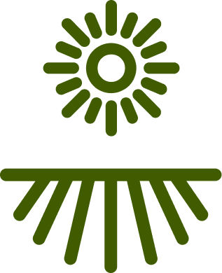Icon of the sun over a field